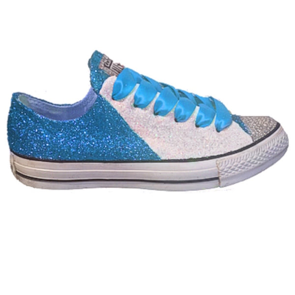 Women's Converse All Star Glitter Sneakers Team Spirit College Sports Shoes Turquoise Blue White