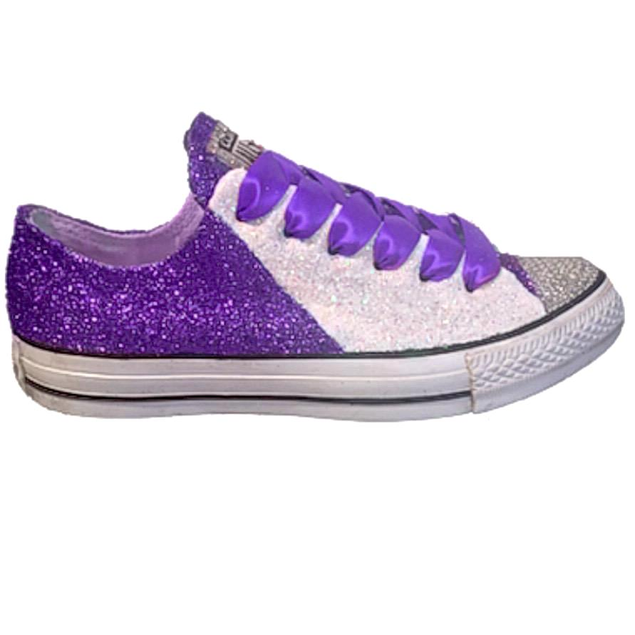 Women's Converse All Star Glitter Sneakers Spirit Football Sports Shoes Purple White Vikings