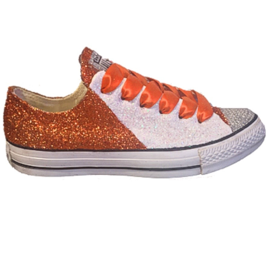 586e9f7879bc Converse All Star Glitter Sneakers College Sports Shoes Orange White –  Glitter Shoe Co