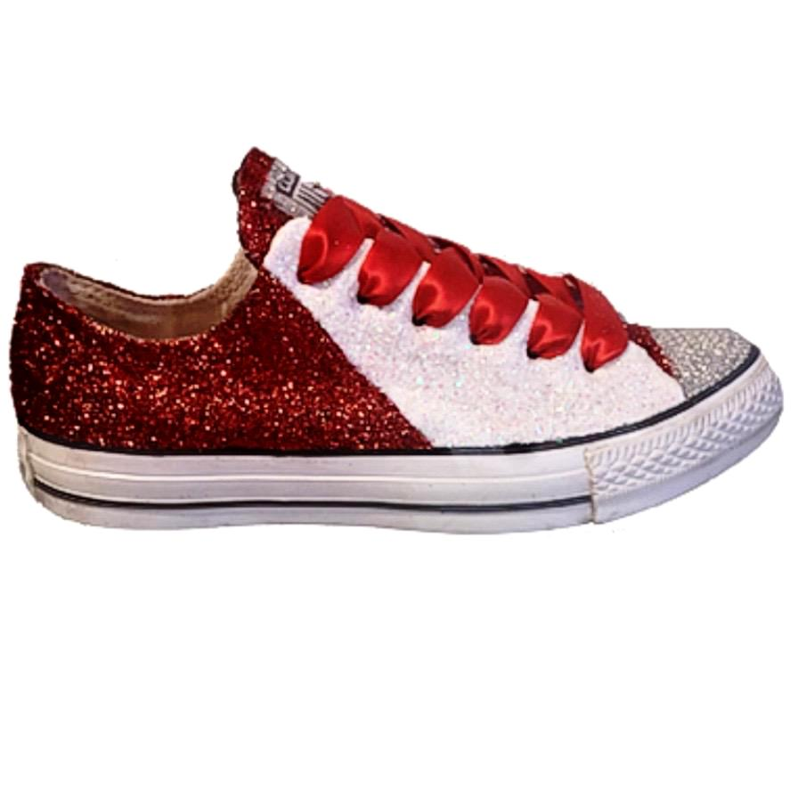 Women's Converse All Star Glitter Sneakers Team Spirit College Sports Shoes Burgundy White