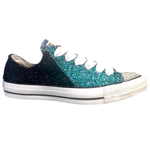 Converse All Star Glitter Sneakers Team Football Sports Shoes Black Teal Green Eagles Philadelphia