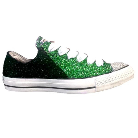 Women's Converse All Star Glitter Sneakers Team Spirit Football Sports Shoes Black Green