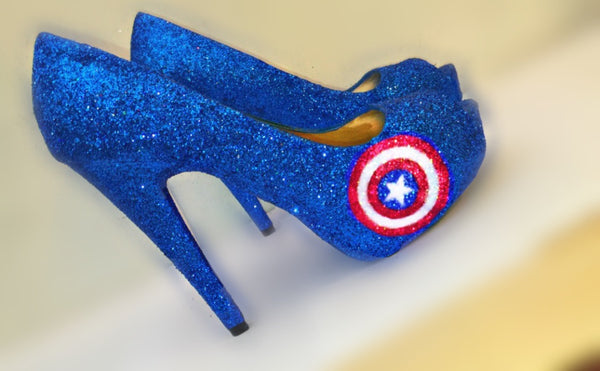 Women's Sparkly Super Hero Royal Blue Glitter high & low Heels Stiletto shoes - Captain America - Glitter Shoe Co