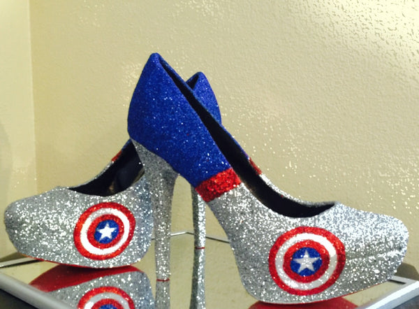 Women's Sparkly Super Hero  Glitter high & low Heels Stiletto shoes - Captain America - Glitter Shoe Co