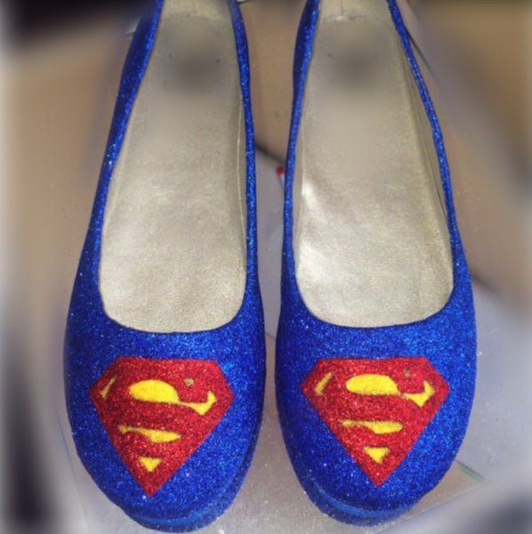 Women's Sparkly SuperHero royal blue Glitter ballet flats shoes Superman wedding bride prom - Glitter Shoe Co