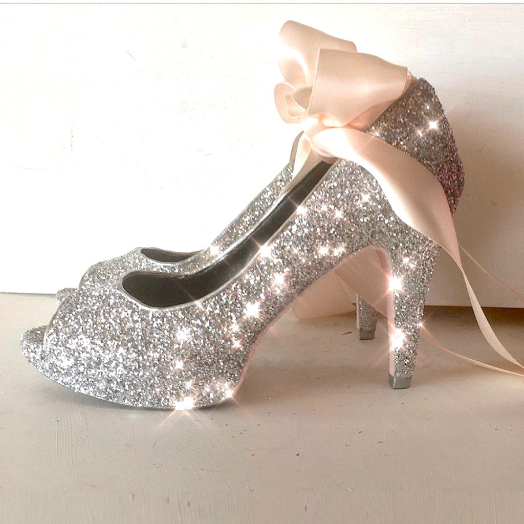 Women's Sparkly Glitter Peep Toe Heels with Satin Ribbon Bow - Silver