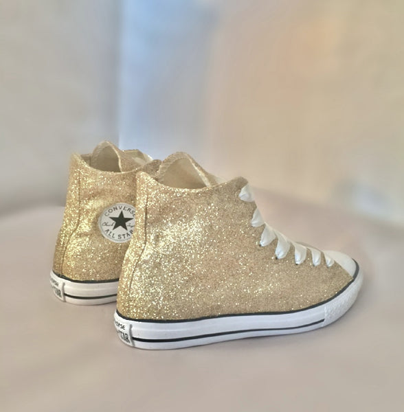 Women's Sparkly Glitter Converse All Stars Champagne Gold High Top Wedding Bride Shoes