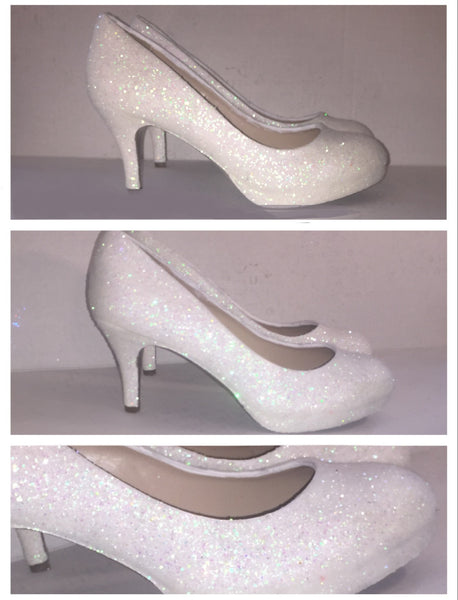 Women's Sparkly White or Ivory Heels Glitter high & low Heels Stiletto wedding bride shoes - Glitter Shoe Co