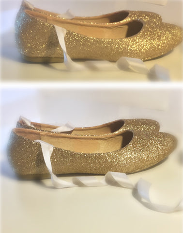 Women's Sparkly Champagne Glitter BALLET Flats bride wedding shoes - Glitter Shoe Co