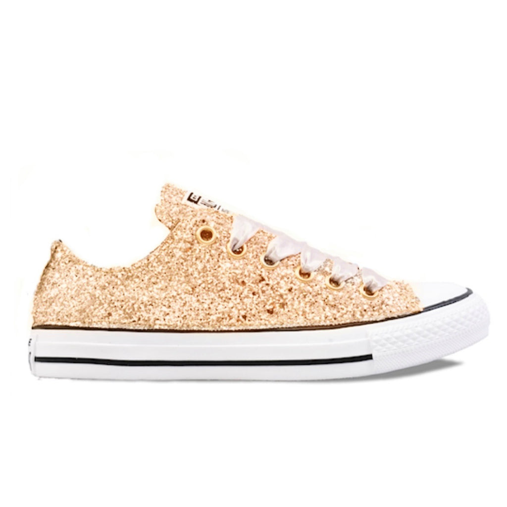 6e79d6960393 Women s Sparkly Converse All Star Low Sneakers - Pale Gold Glitter ...