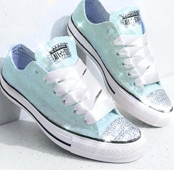 Women's Sparkly Glitter Converse All Star Sneakers - Light Blue