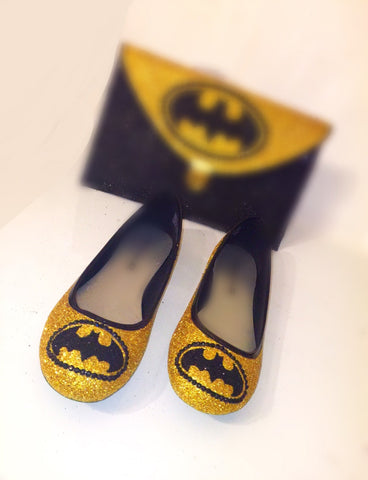 Christmas Gift Sparkly gold black Glitter crystals Ballet Flats Superhero shoes Batman - Glitter Shoe Co