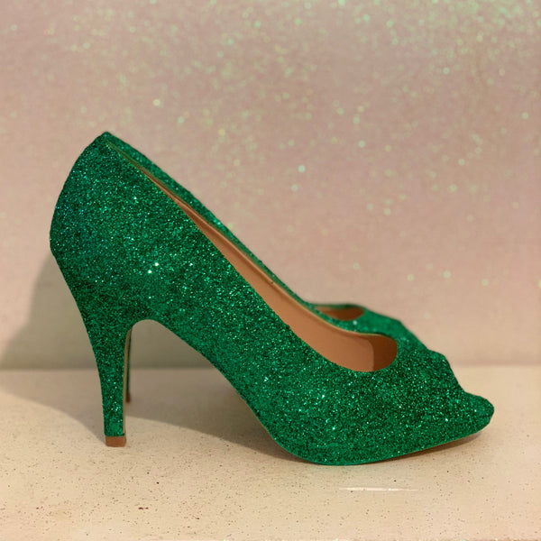 Women's Sparkly Green Glitter Peep Toe pumps heels wedding bride shoes