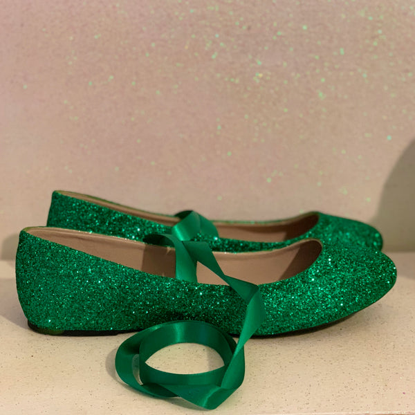 Women's Mermaid Green Glitter Ballet Flats wedding bride shoes