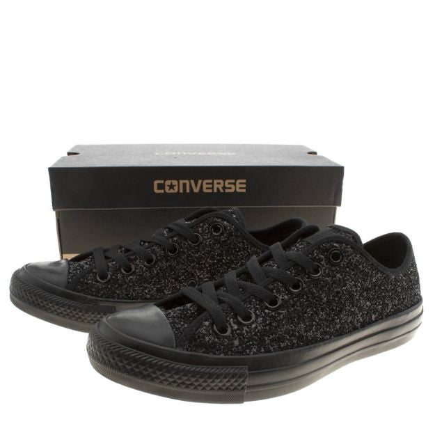 76f5e4e0bf946a Sparkly Black Glitter Mono Converse All Stars Low Top Wedding Bride Prom  Shoes - Glitter Shoe