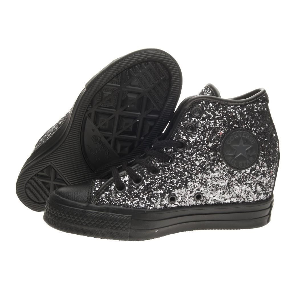 b8100109154d ... Sparkly Gunmetal Silver Black Glitter Converse All Stars Wedge Heel  Wedding Bride Shoes - Glitter Shoe ...