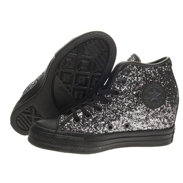 Sparkly Gunmetal Silver Black Glitter Converse All Stars Wedge Heel Wedding Bride Shoes - Glitter Shoe Co