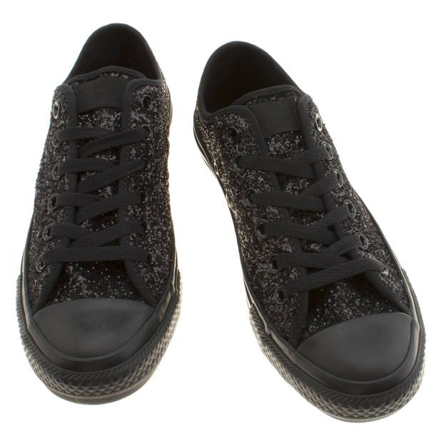 ... Sparkly Black Glitter Mono Converse All Stars Low Top Wedding Bride  Prom Shoes - Glitter Shoe ... ae1d0015f