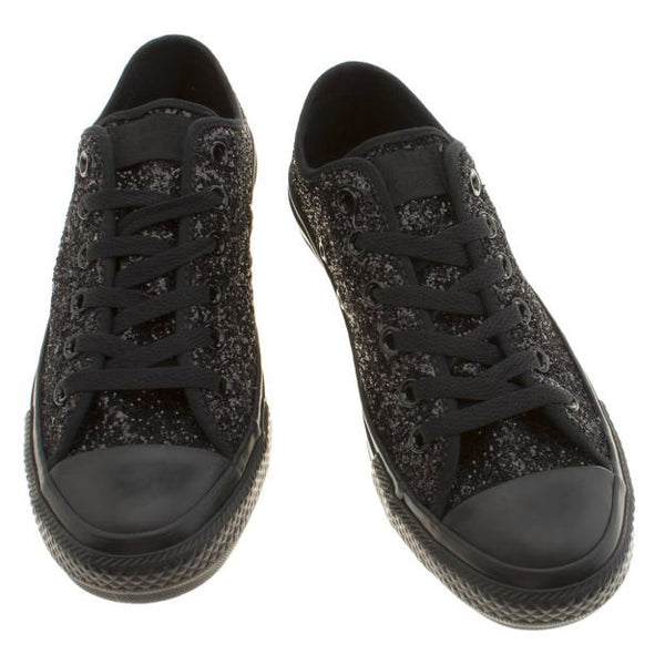 Sparkly Black Glitter Mono Converse All Stars Low Top Wedding Bride Prom Shoes - Glitter Shoe Co