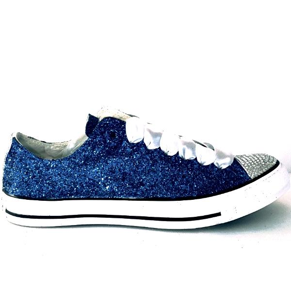 Womens Sparkly Navy Blue Glitter Crystals Converse All Stars sneakers wedding bride shoes