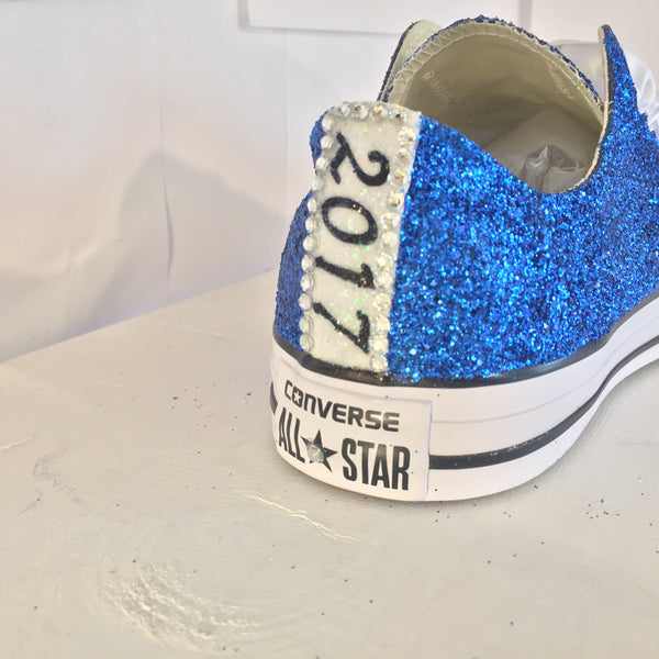 Grad 2017 Sparkly Royal Blue Glitter Crystals Converse All Star prom graduation gift shoes