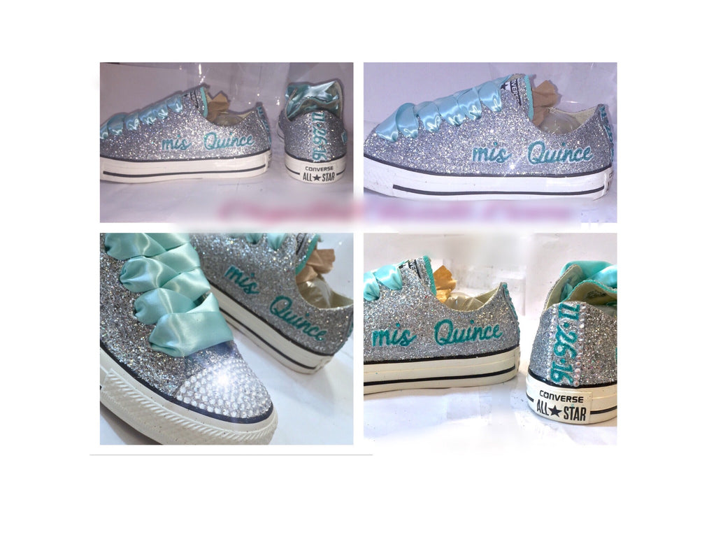 Sparkly Silver & Mint Glitter Crystals Converse All Stars Shoes Quince wedding bride - Glitter Shoe Co