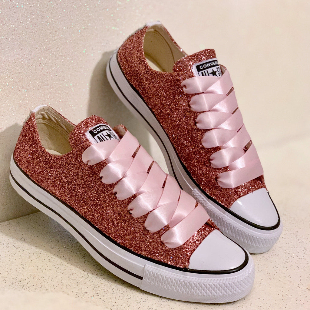 5584652a4186 Women s Sparkly Rose Gold Pink Glitter Converse All Stars Bride Wedding Shoes  sneakers