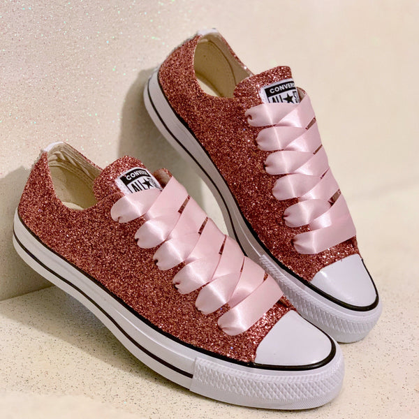 Sparkly Rose Gold Glitter Converse All Stars Shoes Wedding