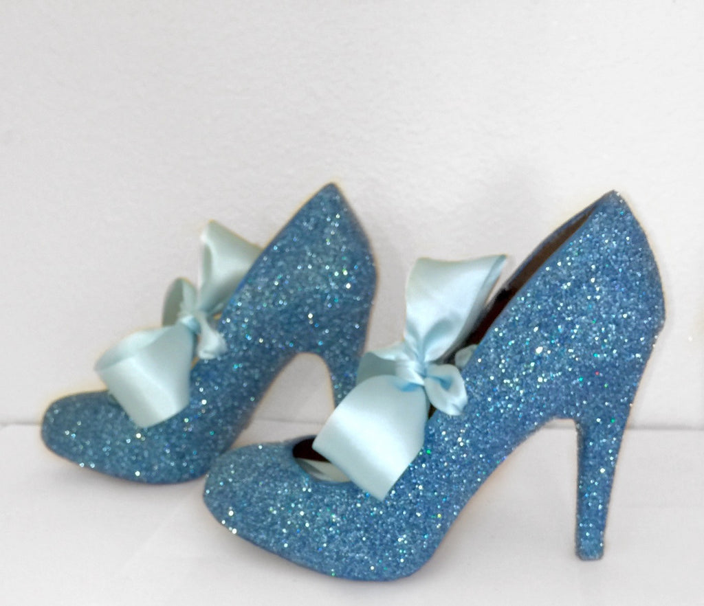 Women's Cinderella Blue Glitter high & Low Heels wedding bride Pumps shoes satin ribbon bow