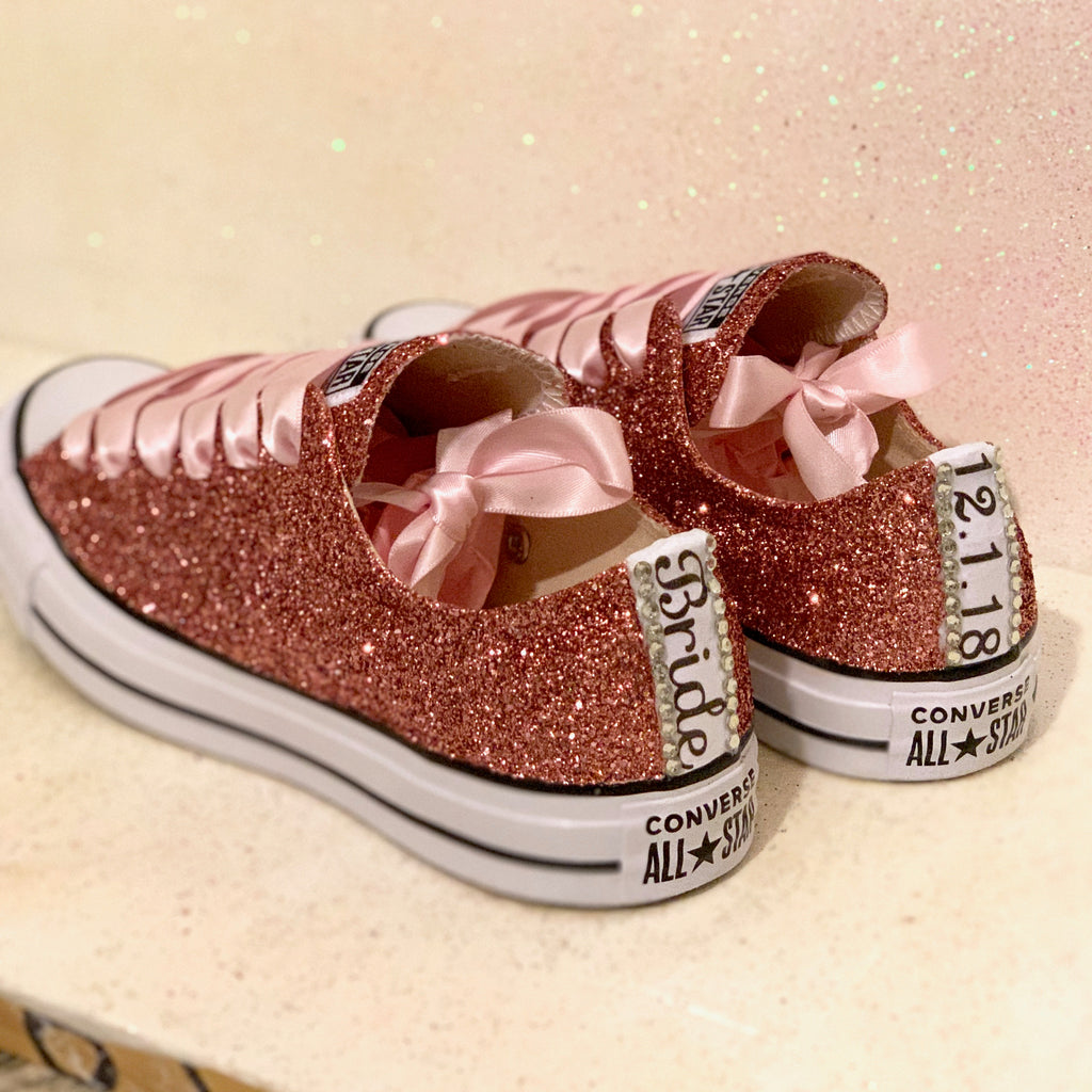 d65afb1584a0 ... Women s Sparkly Rose Gold Pink Glitter Converse All Stars Bride Wedding Shoes  sneakers ...