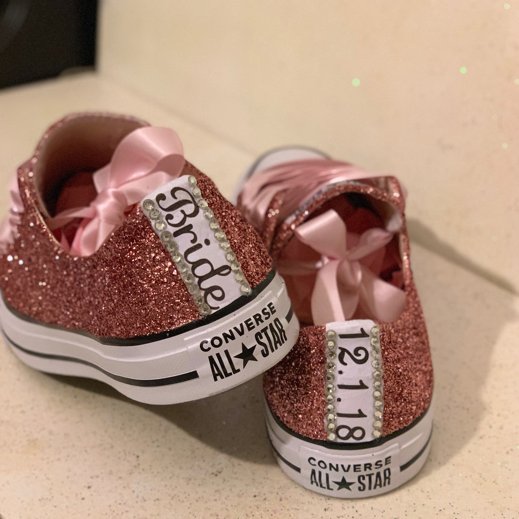 a2029476879 ... Women s Sparkly Rose Gold Pink Glitter Converse All Stars Bride Wedding  Shoes sneakers