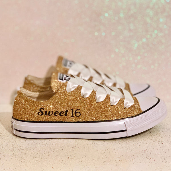 Sparkly Sweet 16 Gold glitter Converse All Stars shoes Wedding bride - Glitter Shoe Co