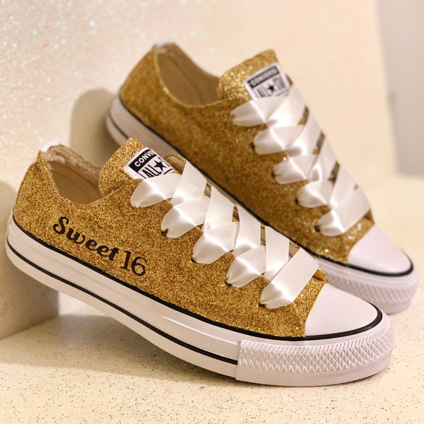 Sparkly Sweet 16 birthday glitter Converse All Stars shoes Wedding bride - Glitter Shoe Co