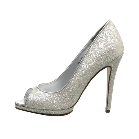 Womens Sparkly White or Ivory Glitter Peep Toe Heels Wedding Bridal Shoes - Glitter Shoe Co