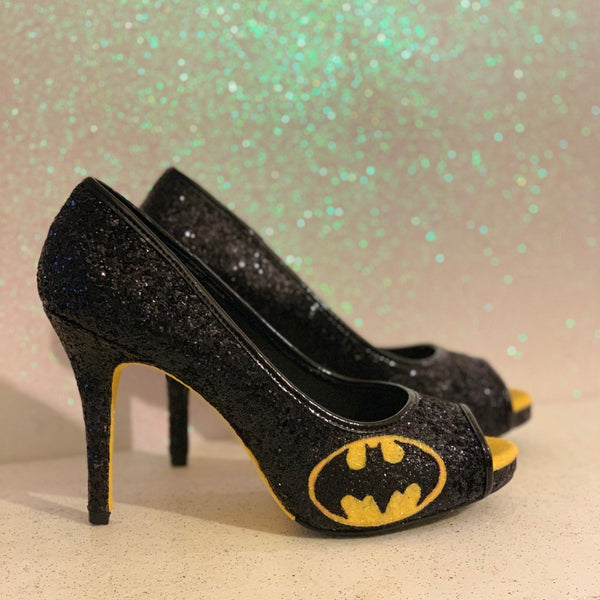 Women's Sparkly Glitter SuperHero peep toe Heels - Black Yellow Batman