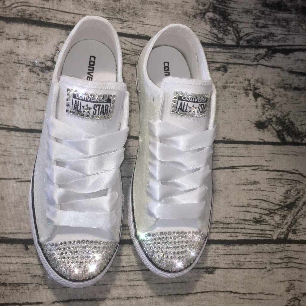 ... Womens Sparkly White Glitter Bridal Crystals Converse All Stars Bride  Wedding Gift shoes ... 6f7eea03c6
