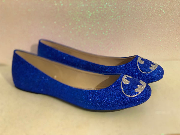 Women's Sparkly Glitter SuperHero ballet flats shoes - Royal Blue Silver Batman