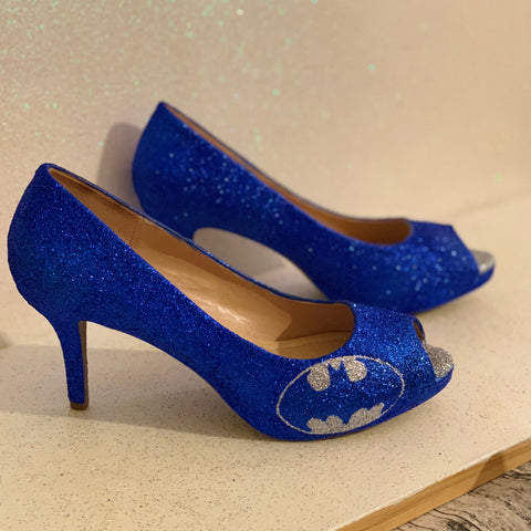 Women's Sparkly SuperHero Glitter Heels shoes - Royal Blue Silver Batman