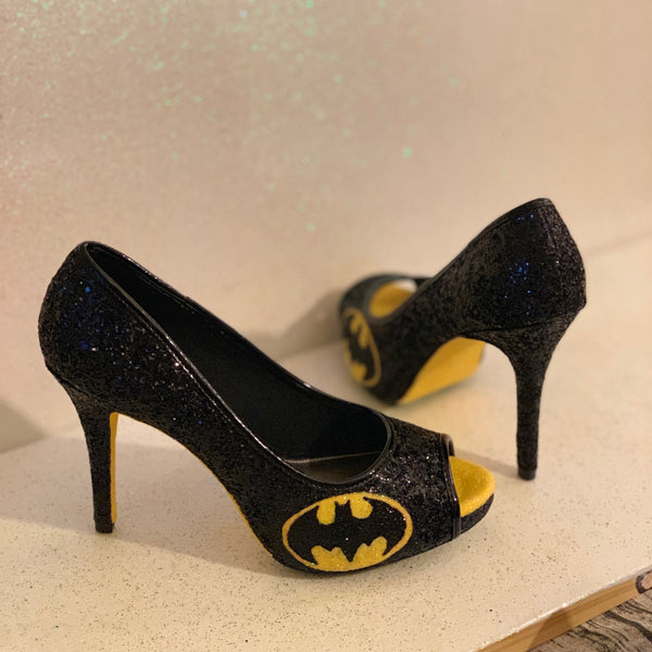 Women's Sparkly Batman SuperHero black yellow gold Glitter peep toe Heels wedding bride shoes