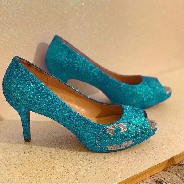 Women's Sparkly SuperHero Glitter Heels shoes - Teal Blue Silver Batman