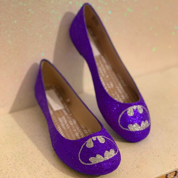 Women's Sparkly Glitter SuperHero ballet flats shoes - Purple Silver Batman