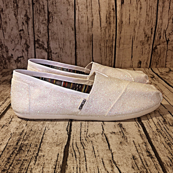 Womens Sparkly White or Ivory Glitter Toms Flats shoes bridal Bride Wedding - Glitter Shoe Co