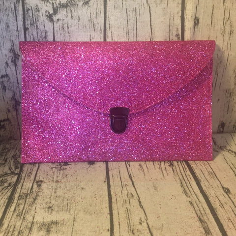 Sparkly Hot Fuchsia Pink glitter clutch purse handbag