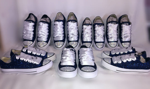 Navy Blue Glitter Crystals Converse All Stars low top wedding bride
