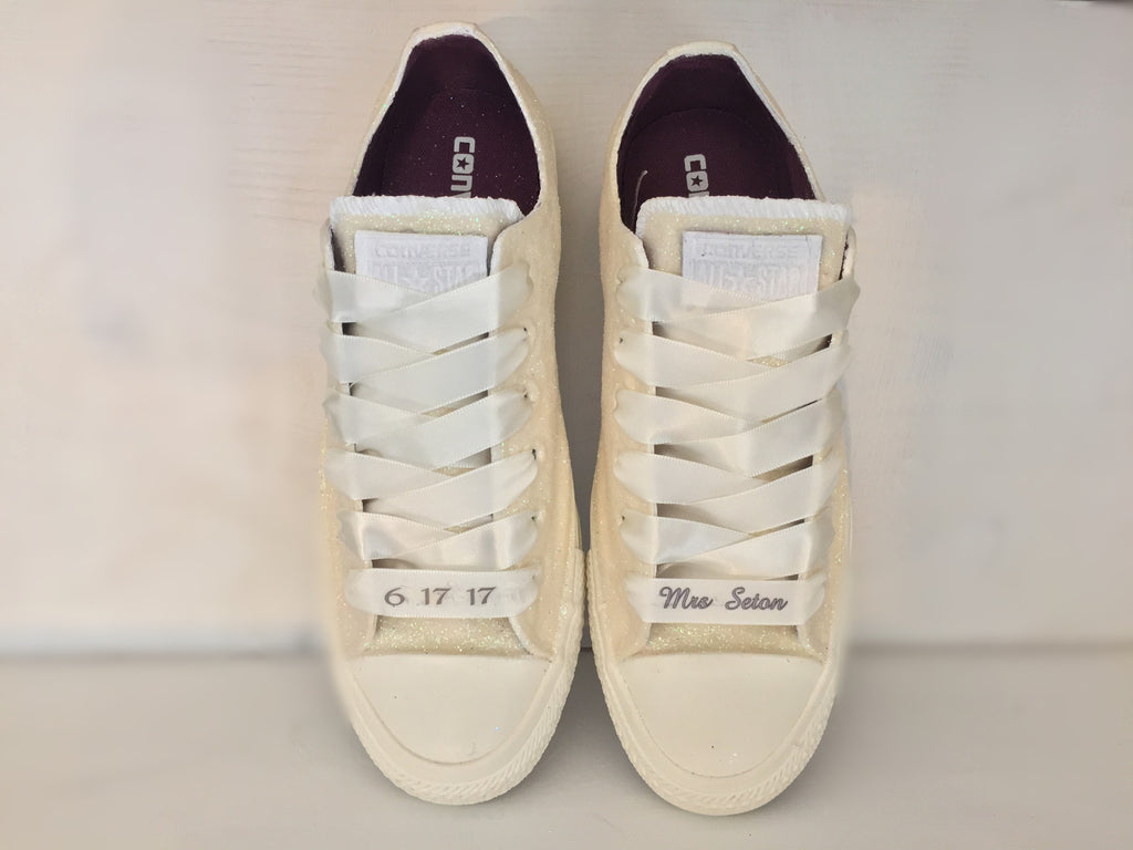 Sparkly White or Ivory Glitter Mono Converse All Stars pearls Bride Wedding Shoes - Glitter Shoe Co