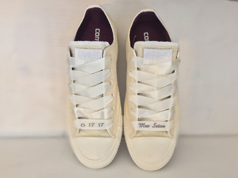 Sparkly White or Ivory Glitter Mono Converse All Stars pearls Bride Wedding  Shoes - Glitter Shoe b767f42c25