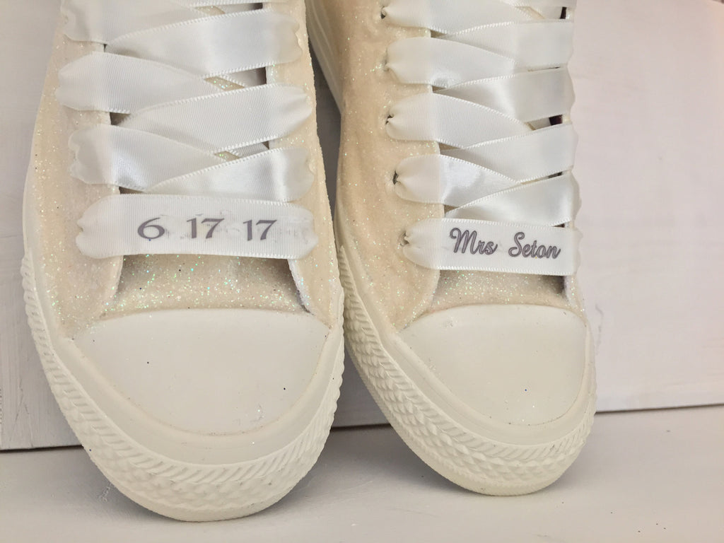Sparkly White Or Ivory Glitter Mono Converse All Stars Pearls Bride Wedding Shoes