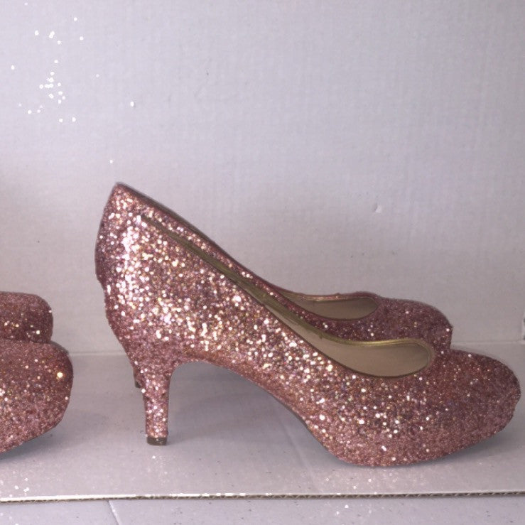Pink Low Heel Wedding Shoes: Sparkly Metallic Rose Gold Glitter Low Heel Wedding Bride