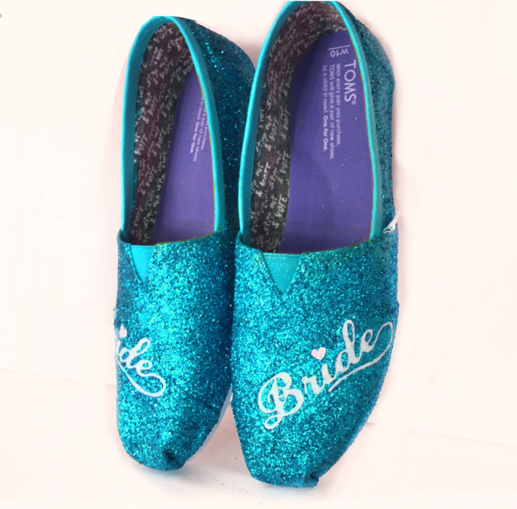 Womens sparkly Glitter Toms Turquoise Something Blue Weddings Bride Shoes - Glitter Shoe Co