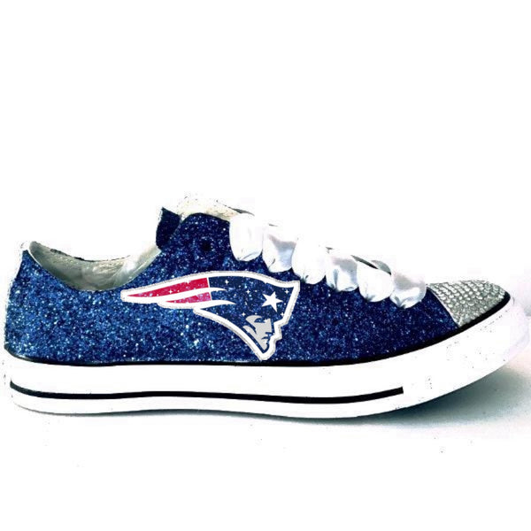 SuperBowl Football Glitter Converse All Stars NEW ENGLAND PATRIOTS SHOES